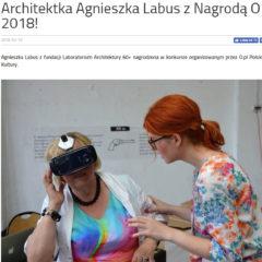 """""""Architektka Agnieszka Labus z Nagrodą O 2018!"""" Architektura.Murator"""